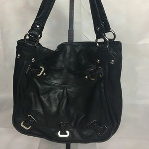 B Makowsky Soft Black Pebbled Leather Handbag